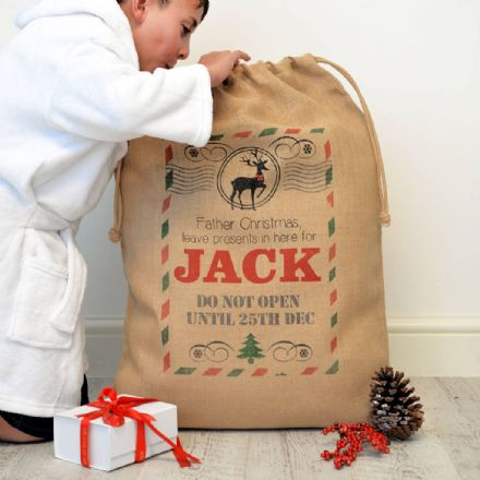 Personalised Christmas Postcard Hessian Sack